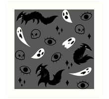 Wolf and Ghost Pattern Art Print