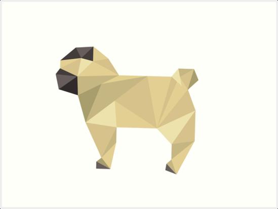 Modern Geometric Faun Pug Puppy Profile Art Prints By Danmackey