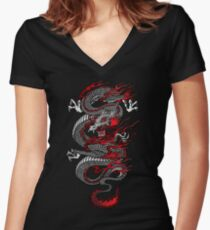 Asian Dragon Women's Fitted V-Neck T-Shirt