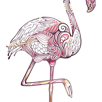 Pink Flamingo  Zentangle Abstract  by IconicTee