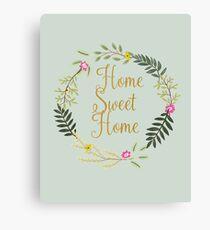Home Sweet Home Grey-Blue Canvas Print