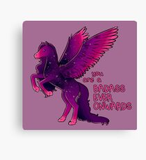 """Badass Ever Onwards"" Pegasus Canvas Print"