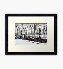 Bryant Park Subway and Snow Framed Print