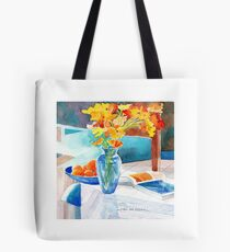 Poppies in a Blue Vase Tote Bag
