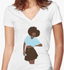 Hey Girl Women's Fitted V-Neck T-Shirt