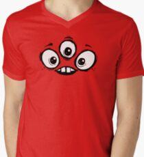 Three Eyed Monster Face Mens V-Neck T-Shirt