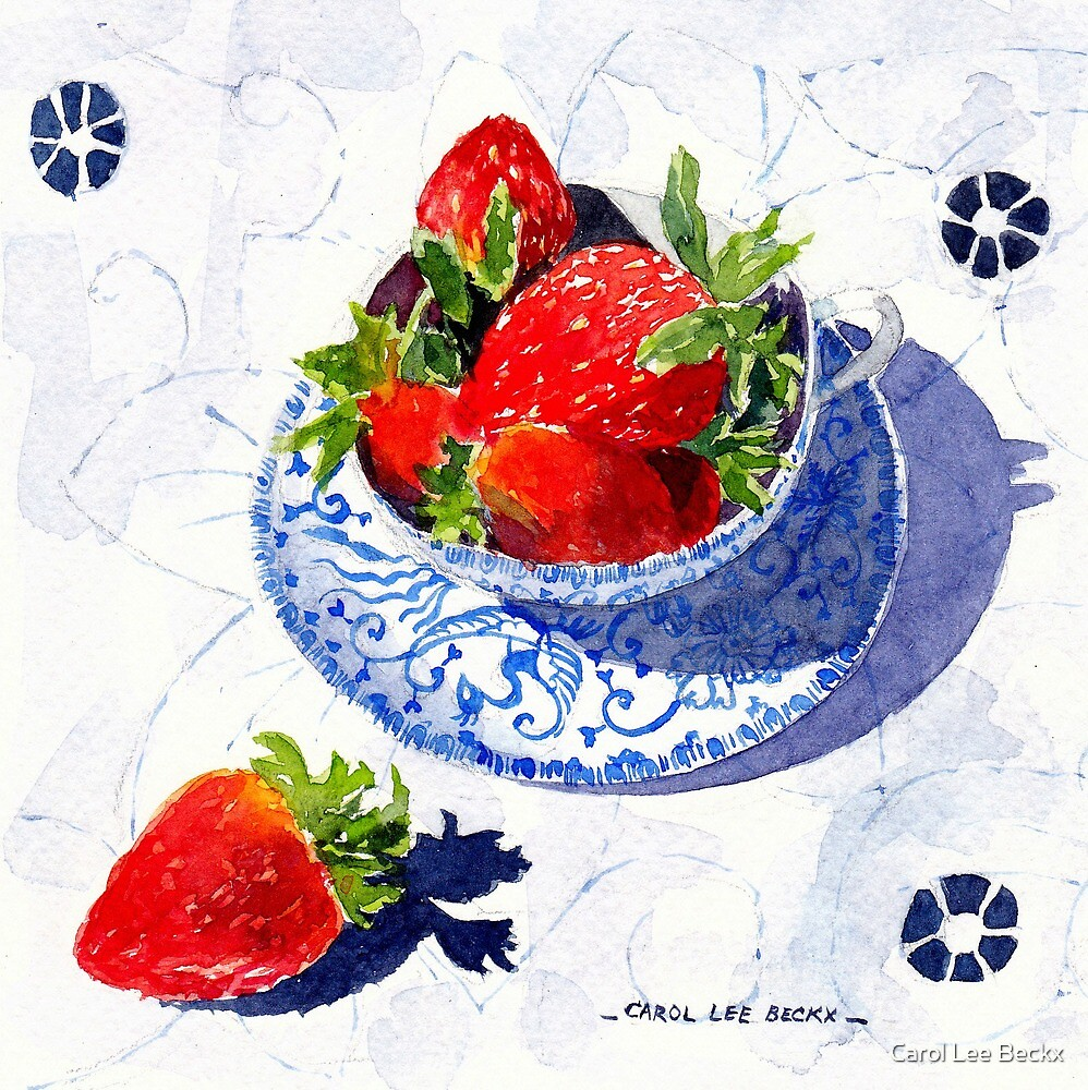 Three Strawberries by Carol Lee Beckx