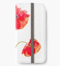 Wasserfarbe Mohn iPhone Flip-Case/Hülle/Skin
