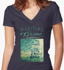Briney Ocean Tossed Women's Fitted V-Neck T-Shirt