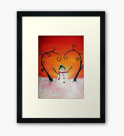 Cute Happy Snowman at Sunset - ACEO Folk Painting Framed Print