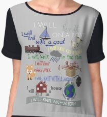 "Knitting Products ""I Will Knit with a Goat..."" Women's Chiffon Top"
