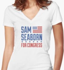 Sam Seaborn For Congress Women's Fitted V-Neck T-Shirt
