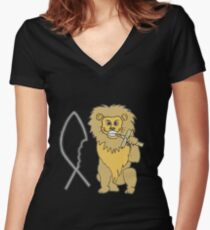 feed them to the lions Women's Fitted V-Neck T-Shirt