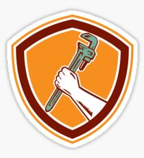 Hand Holding Adjustable Wrench Shield Woodcut Sticker
