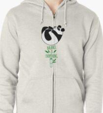 Balance Is Everything! Tumbling panda. Zipped Hoodie
