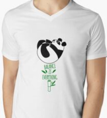 Balance Is Everything! Tumbling panda. Men's V-Neck T-Shirt