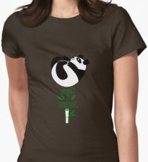 Balance Is Everything! Tumbling panda. Womens Fitted T-Shirt