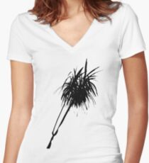 Elegant minimalist palm design in Chinese ink Women's Fitted V-Neck T-Shirt