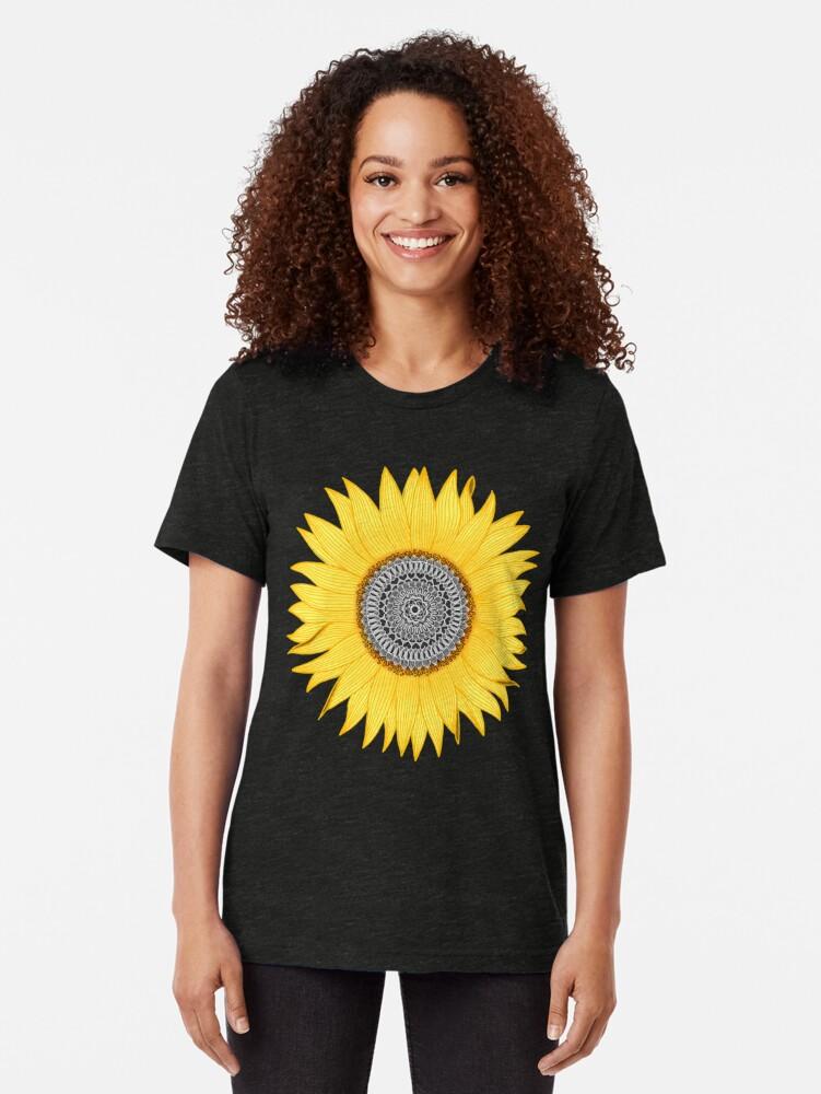 Alternate view of Mandala Sunflower Tri-blend T-Shirt