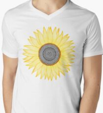 Camiseta de cuello en V Golden Mandala Sunflower