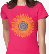 Golden Mandala Sunflower Womens Fitted T-Shirt