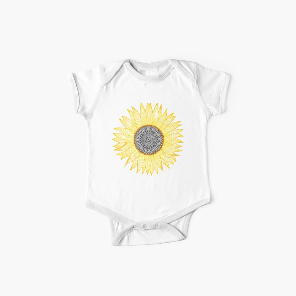 Golden Mandala Sunflower Baby One-Pieces