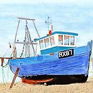 Hastings Fishing Boat in Mixed Media  by hootonles