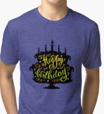 happy birthday lettering in cake with candles Tri-blend T-Shirt