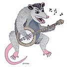 Possum playing a banjo by Peggy Cline
