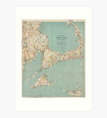 Vintage Map of Cape Cod (1917)  Art Print