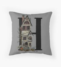 H is for Haunted House Watercolor Painting Throw Pillow