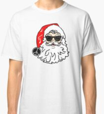 hippie santa claus peace sign funny merry christmas hippies peace and love holiday t shirts Classic T-Shirt