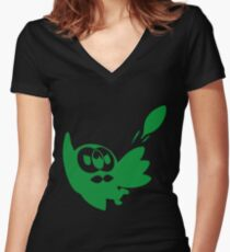 Rowlet Green Women's Fitted V-Neck T-Shirt