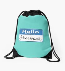 Hello My Name Is Starbuck Drawstring Bag