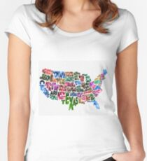 States of United States Typographic Map Women's Fitted Scoop T-Shirt
