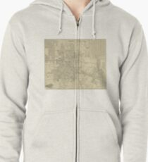 Vintage Map of Downtown Houston (1913) Zipped Hoodie