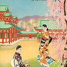 """Pan American Clipper Service to Japan """"Spring in Kyoto"""" Vintage Travel Poster by Framerkat"""