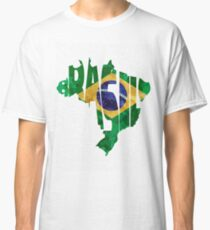 Brazil Typographic Map Flag Classic T-Shirt