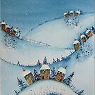 Houses on the Hills in the Snow by FrancesArt