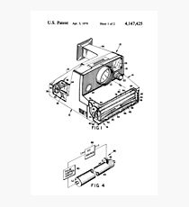 Retro Vintage Polaroid Film Camera Patent Drawing Photographic Print