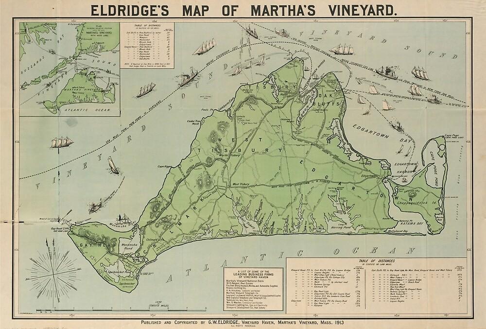 Vintage Map of Marthas Vineyard (1913) by BravuraMedia
