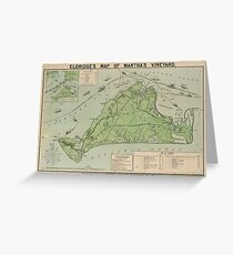 Vintage Map of Marthas Vineyard (1913) Greeting Card