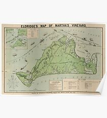 Vintage Map of Marthas Vineyard (1913) Poster