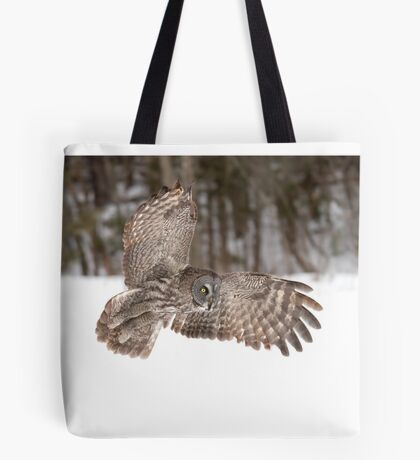 Great grey owl in flight over a snow covered field Tote Bag