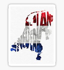 The Netherlands Typographic Map Flag Sticker
