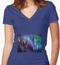 BLUE AND LILAC FEATHERY FERN  Women's Fitted V-Neck T-Shirt