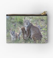"""Momma Lynx With 4 Babies...Only 3 Showing, """"Come On Children,Sit Still"""" Studio Pouch"""