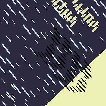 Dark Neon Rain Pattern // Shirt // Dress // Poster by meowmeows