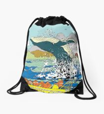 Jumping Whale Drawstring Bag