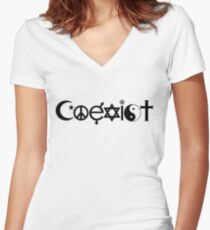 COEXIST 0001 Women's Fitted V-Neck T-Shirt